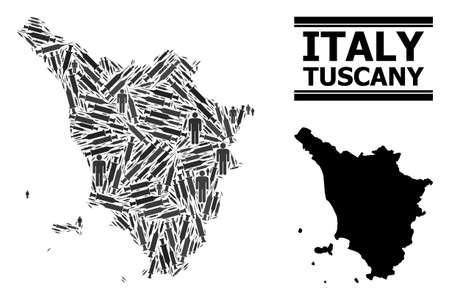 Covid-2019 Treatment mosaic and solid map of Tuscany region. Vector map of Tuscany region is organized of syringes and people figures. Collage designed for lockdown posters.