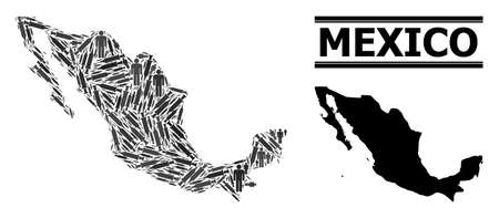 Virus therapy mosaic and solid map of Mexico. Vector map of Mexico is constructed from inoculation icons and people figures. Template is useful for epidemic purposes. Final win over virus outbreak.