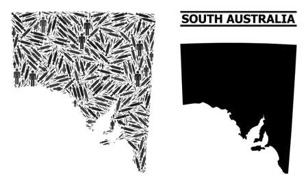 Vaccine mosaic and solid map of South Australia. Vector map of South Australia is done of vaccine symbols and men figures. Abstraction is useful for pandemic ads. Final solution over coronavirus.
