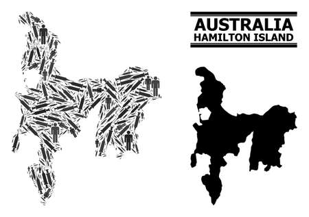 Vaccine mosaic and solid map of Hamilton Island. Vector map of Hamilton Island is organized of vaccine doses and men figures. Template is useful for pandemic purposes.