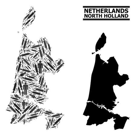 Virus therapy mosaic and solid map of North Holland. Vector map of North Holland is organized with syringes and human figures. Collage is useful for medicine posters.
