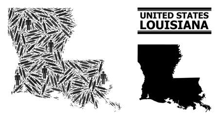 Inoculation mosaic and solid map of Louisiana State. Vector map of Louisiana State is formed with inoculation icons and people figures. Illustration is useful for lockdown aims.