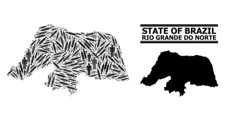 Syringe mosaic and solid map of Rio Grande do Norte State. Vector map of Rio Grande do Norte State is formed with vaccine doses and people figures. Abstraction is useful for outbreak aims.