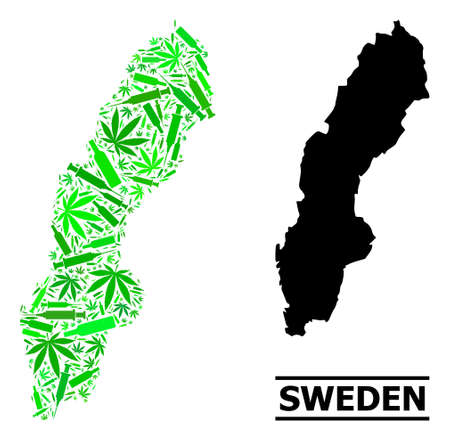 Drugs mosaic and solid map of Sweden. Vector map of Sweden is composed with randomized inoculation icons, marijuana and drink bottles. Abstract territory scheme in green colors for map of Sweden.