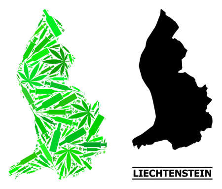 Addiction mosaic and solid map of Liechtenstein. Vector map of Liechtenstein is done with random vaccine symbols, marijuana and drink bottles.