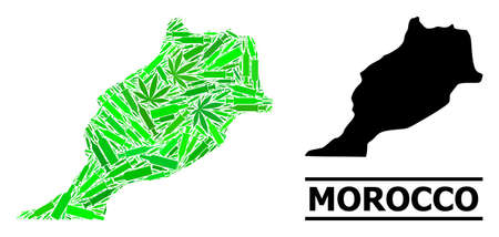 Addiction mosaic and usual map of Morocco. Vector map of Morocco is organized of randomized syringes, dope and drink bottles. Abstract geographic plan in green colors for map of Morocco.