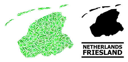Addiction mosaic and usual map of Friesland Province. Vector map of Friesland Province is composed from scattered syringes, cannabis leaves and drink bottles.