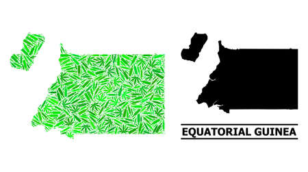 Addiction mosaic and usual map of Equatorial Guinea. Vector map of Equatorial Guinea is designed with randomized vaccine doses, addict and alcohol bottles.