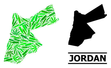 Addiction mosaic and solid map of Jordan. Vector map of Jordan is created with scattered vaccine doses, herbal and drink bottles. Abstract territorial scheme in green colors for map of Jordan.