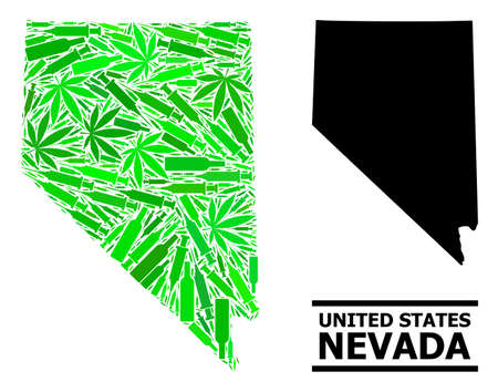 Addiction mosaic and usual map of Nevada State. Vector map of Nevada State is made with random vaccine doses, cannabis leaves and drink bottles.