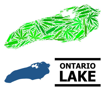 Drugs mosaic and usual map of Ontario Lake. Vector map of Ontario Lake is done from scattered inoculation icons, cannabis and wine bottles. Иллюстрация