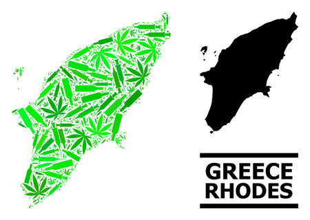 Addiction mosaic and solid map of Rhodes Island. Vector map of Rhodes Island is organized of randomized inoculation icons, ganja and alcohol bottles.