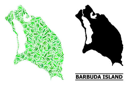 Addiction mosaic and solid map of Barbuda Island. Vector map of Barbuda Island is organized of randomized inoculation icons, dope and wine bottles.