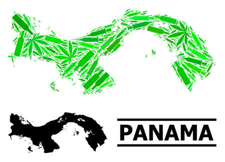 Drugs mosaic and usual map of Panama. Vector map of Panama is done of randomized inoculation icons, cannabis and wine bottles. Abstract territory scheme in green colors for map of Panama.