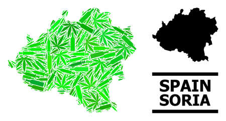 Addiction mosaic and usual map of Soria Province. Vector map of Soria Province is designed of random injection needles, cannabis leaves and alcoholic bottles. Stock Illustratie