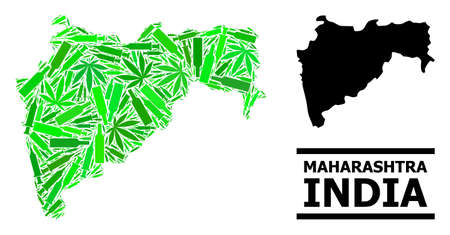 Addiction mosaic and usual map of Maharashtra State. Vector map of Maharashtra State is designed from randomized vaccine symbols, ganja and wine bottles.