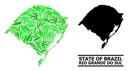 Addiction mosaic and usual map of Rio Grande do Sul State. Vector map of Rio Grande do Sul State is designed of random vaccine doses, narcotic and wine bottles.