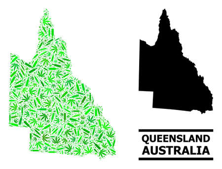 Drugs mosaic and usual map of Australian Queensland. Vector map of Australian Queensland is constructed with random injection needles, cannabis and drink bottles.