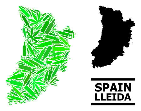 Drugs mosaic and solid map of Lleida Province. Vector map of Lleida Province is shaped with randomized injection needles, narcotic and alcohol bottles.