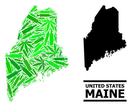 Addiction mosaic and usual map of Maine State. Vector map of Maine State is constructed of random syringes, weed and alcohol bottles. Abstract territorial plan in green colors for map of Maine State.  イラスト・ベクター素材