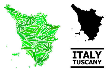 Drugs mosaic and solid map of Tuscany region. Vector map of Tuscany region is done with scattered inoculation icons, addict and wine bottles.