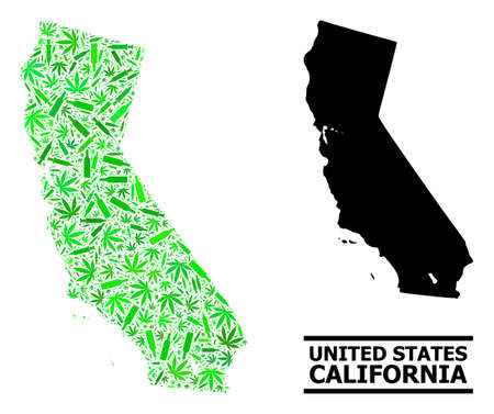 Drugs mosaic and solid map of California. Vector map of California is formed of scattered vaccine symbols, dope and wine bottles. Abstract territory scheme in green colors for map of California.