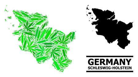 Drugs mosaic and solid map of Schleswig-Holstein State. Vector map of Schleswig-Holstein State is constructed from randomized inoculation icons, narcotic and alcohol bottles.