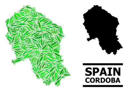 Addiction mosaic and solid map of Cordoba Spanish Province. Vector map of Cordoba Spanish Province is shaped with randomized syringes, cannabis leaves and alcohol bottles. Illustration