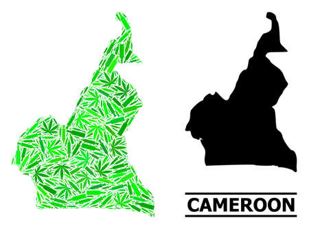 Addiction mosaic and solid map of Cameroon. Vector map of Cameroon is constructed of random injection needles, herb and wine bottles. Abstract territorial scheme in green colors for map of Cameroon.