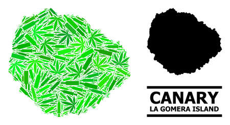Drugs mosaic and solid map of La Gomera Island. Vector map of La Gomera Island is composed of random injection needles, cannabis and drink bottles. Ilustração