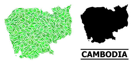 Drugs mosaic and usual map of Cambodia. Vector map of Cambodia is composed from randomized injection needles, narcotic and drink bottles. Abstract territorial plan in green colors for map of Cambodia. Çizim