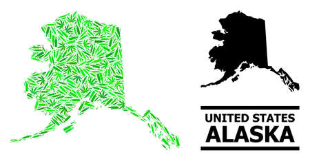Drugs mosaic and solid map of Alaska State. Vector map of Alaska State is designed of scattered vaccine doses, narcotic and alcoholic bottles.