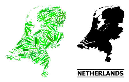Drugs mosaic and solid map of Netherlands. Vector map of Netherlands is done with random vaccine symbols, ganja and wine bottles. Abstract geographic plan in green colors for map of Netherlands.