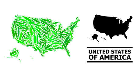 Drugs mosaic and usual map of USA territories. Vector map of USA territories is created from randomized vaccine symbols, ganja and drink bottles.