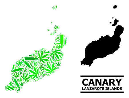 Drugs mosaic and solid map of Lanzarote Islands. Vector map of Lanzarote Islands is designed from randomized vaccine symbols, weed and alcoholic bottles. Illustration