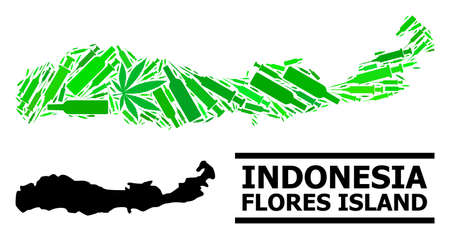 Drugs mosaic and usual map of Indonesia - Flores Island. Vector map of Indonesia - Flores Island is designed of randomized vaccine symbols, weed and wine bottles.