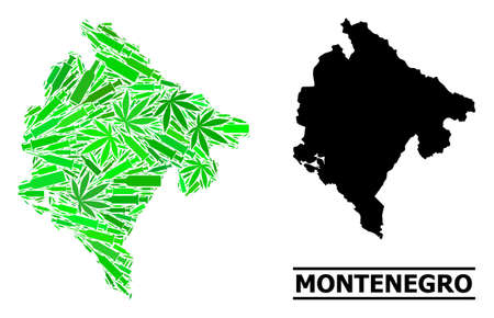 Addiction mosaic and usual map of Montenegro. Vector map of Montenegro is formed from scattered vaccine doses, ganja and alcohol bottles.