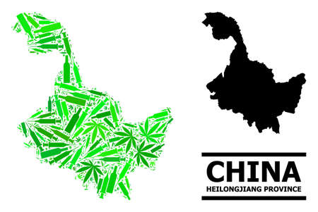 Drugs mosaic and solid map of Heilongjiang Province. Vector map of Heilongjiang Province is designed from scattered injection needles, narcotic and alcohol bottles.