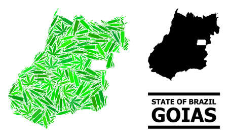 Drugs mosaic and solid map of Goias State. Vector map of Goias State is made from scattered syringes, weed and alcoholic bottles. Abstract territory plan in green colors for map of Goias State.