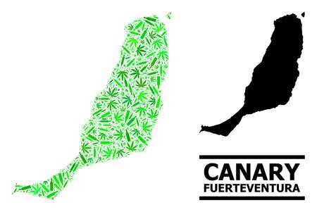 Drugs mosaic and usual map of Fuerteventura Island. Vector map of Fuerteventura Island is constructed with scattered syringes, hemp and alcoholic bottles. Ilustração