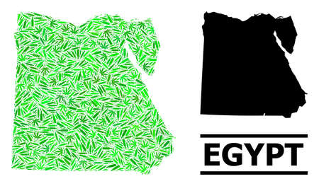 Addiction mosaic and usual map of Egypt. Vector map of Egypt is composed of scattered vaccine symbols, ganja and wine bottles. Abstract territory scheme in green colors for map of Egypt. 向量圖像