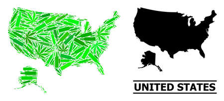 Drugs mosaic and solid map of USA and Alaska. Vector map of USA and Alaska is composed from randomized inoculation icons, narcotic and drink bottles.