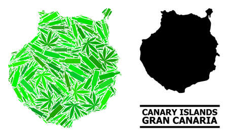 Addiction mosaic and usual map of Gran Canaria. Vector map of Gran Canaria is organized with scattered injection needles, dope and drink bottles.