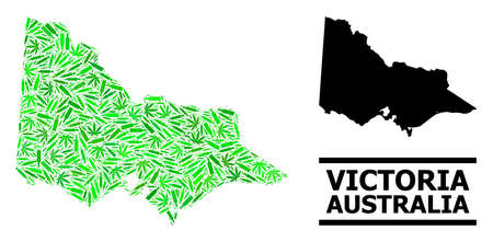 Drugs mosaic and solid map of Australian Victoria. Vector map of Australian Victoria is shaped of scattered vaccine symbols, marijuana and drink bottles.
