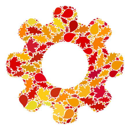 Gear Wheel mosaic icon constructed for fall season. Raster gear wheel mosaic is constructed with scattered autumn maple and oak leaves. Mosaic autumn leaves in bright gold, brown and red colors.