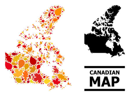 Mosaic autumn leaves and solid map of Canada. Vector map of Canada is designed from random autumn maple and oak leaves. Abstract geographic scheme in bright gold, red, brown colors for map of Canada.