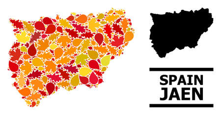 Mosaic autumn leaves and solid map of Jaen Spanish Province. Vector map of Jaen Spanish Province is constructed from random autumn maple and oak leaves. Abstract geographic plan in bright gold, red,