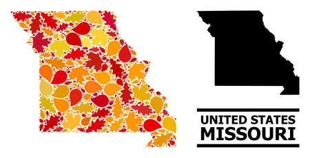 Mosaic autumn leaves and solid map of Missouri State. Vector map of Missouri State is made of random autumn maple and oak leaves. Abstract territorial plan in bright gold, red, Ilustração