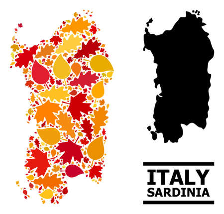 Mosaic autumn leaves and solid map of Sardinia region. Vector map of Sardinia region is formed from random autumn maple and oak leaves. Abstract geographic plan in bright gold, red,