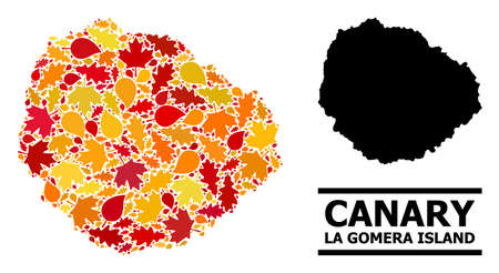 Mosaic autumn leaves and usual map of La Gomera Island. Vector map of La Gomera Island is designed with scattered autumn maple and oak leaves. Abstract territory plan in bright gold, red, Illustration